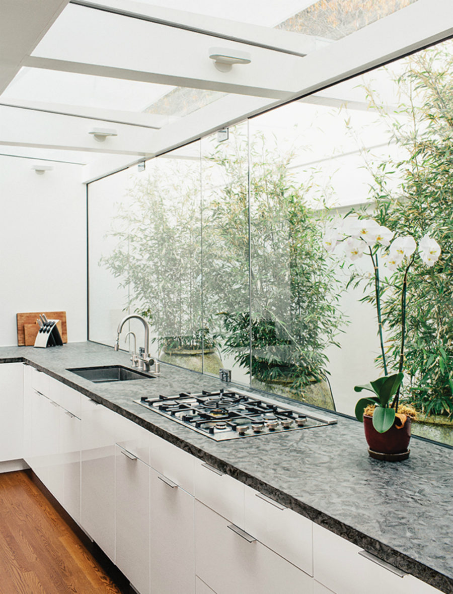 Kitchen glass wall