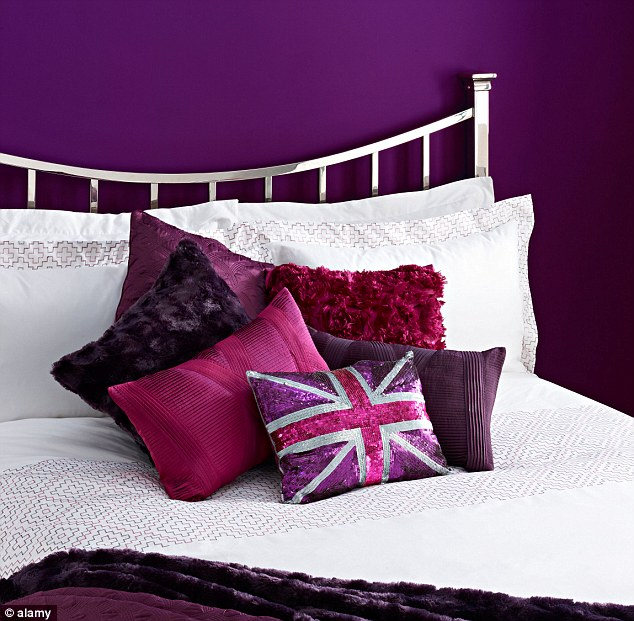Stimulating: But bedrooms that are painted purple could encourage creativity and stop the brain from relaxing
