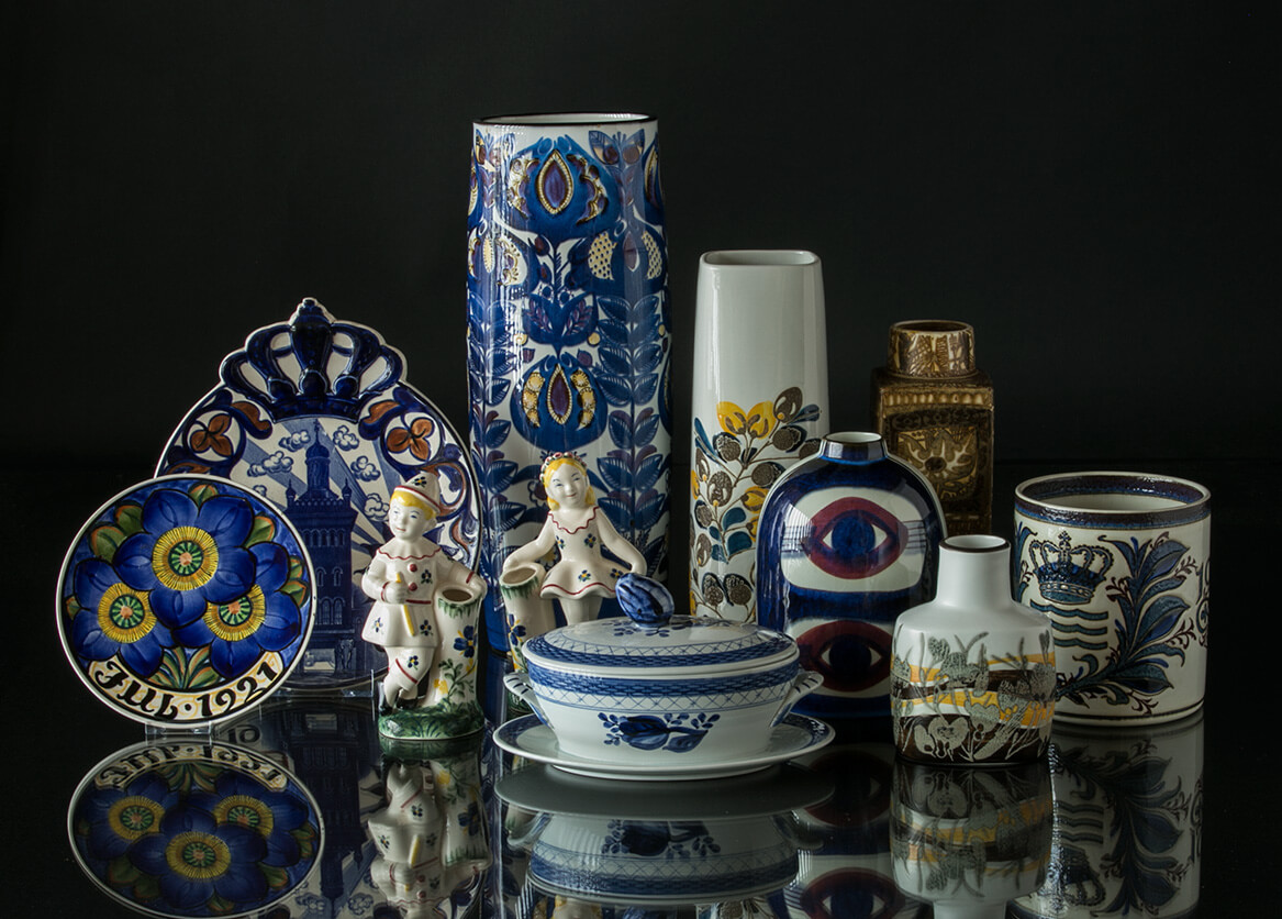 Faience vases, bowls and figurines